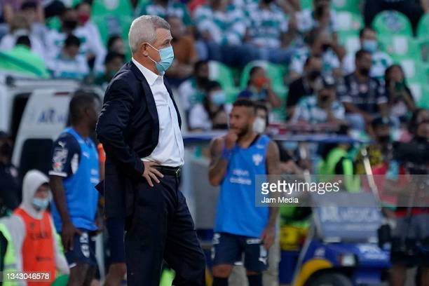 Javier Aguirre, head coach of Monterrey, looks on during the 10th round match between Santos Laguna and Monterey as part of the Torneo Grita Mexico...