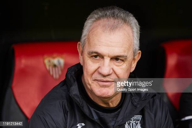 Javier Aguirre, Manager of CD Leganes looks on prior to the Liga match between Sevilla FC and CD Leganes at Estadio Ramon Sanchez Pizjuan on December...