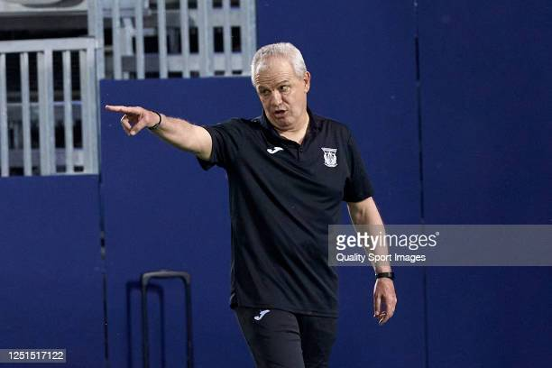 Javier Aguirre, Manager of CD Leganes reacts during the Liga match between CD Leganes and Granada CF at Estadio Municipal de Butarque on June 22,...