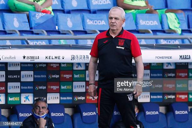 Javier Aguirre of CD Leganes follows the action during the Liga match between RCD Espanyol and CD Leganes at RCDE Stadium on July 05 2020 in...