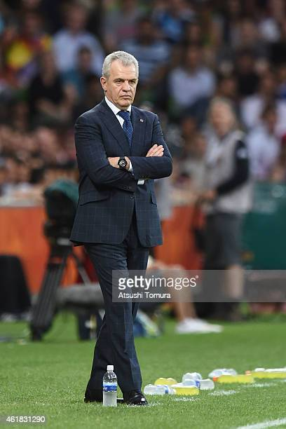 Javier Aguirre team coach of Japan looks on during the 2015 Asian Cup match between Japan and Jordan at AAMI Park on January 20 2015 in Melbourne...