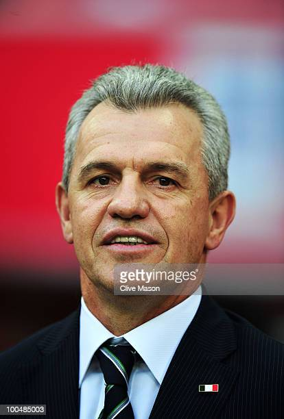 Javier Aguirre the Mexico Manager looks on during the International Friendly match between England and Mexico at Wembley Stadium on May 24 2010 in...