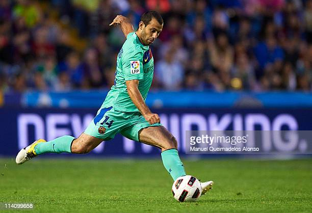 Javier Alejandro Mascherano of Barcelona in action during the La Liga match between Levante UD and Barcelona at Ciutat de Valencia on May 11 2011 in...