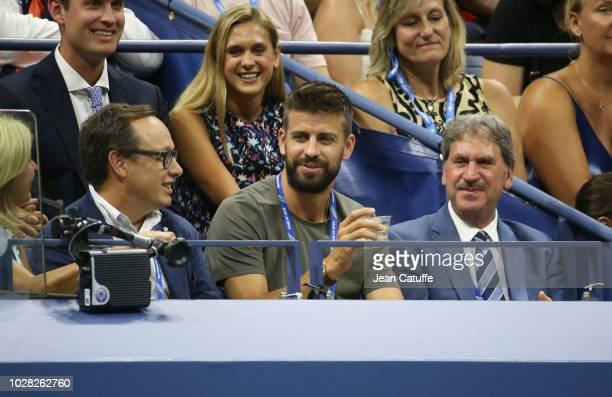 Javier Alonso Giralt Gerard Pique who as CEO of Kosmos just bought the rights for the future Davis Cup ITF President David Haggerty attend the...