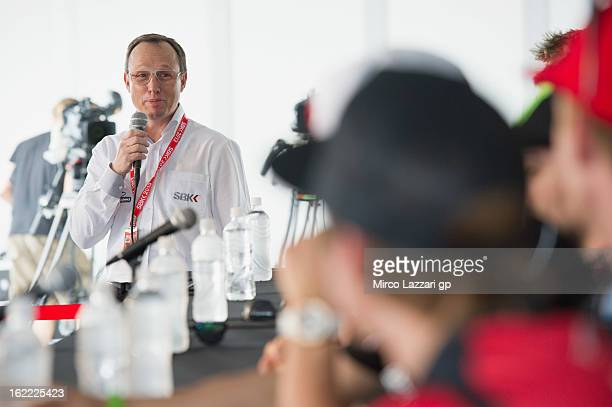 Javier Alonso of Spain speaks during the press conference for the launch of the 2013 World SBK and World Supersport season at Phillip Island Grand...