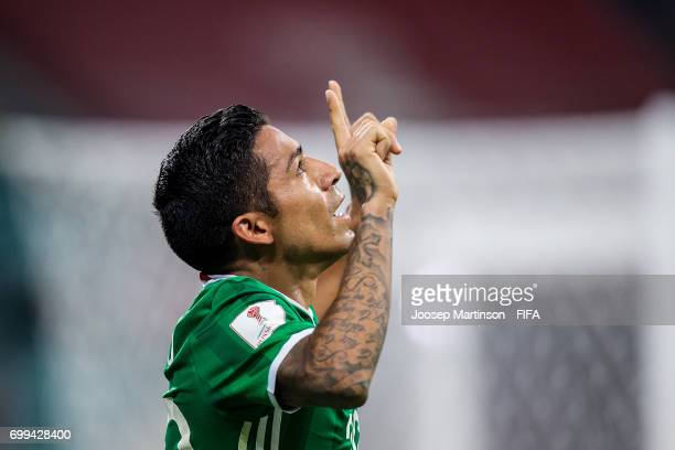 Javier Aquino of Mexico celebrates a goal during the FIFA Confederations Cup Russia 2017 group A football match between Mexico and New Zealand at...