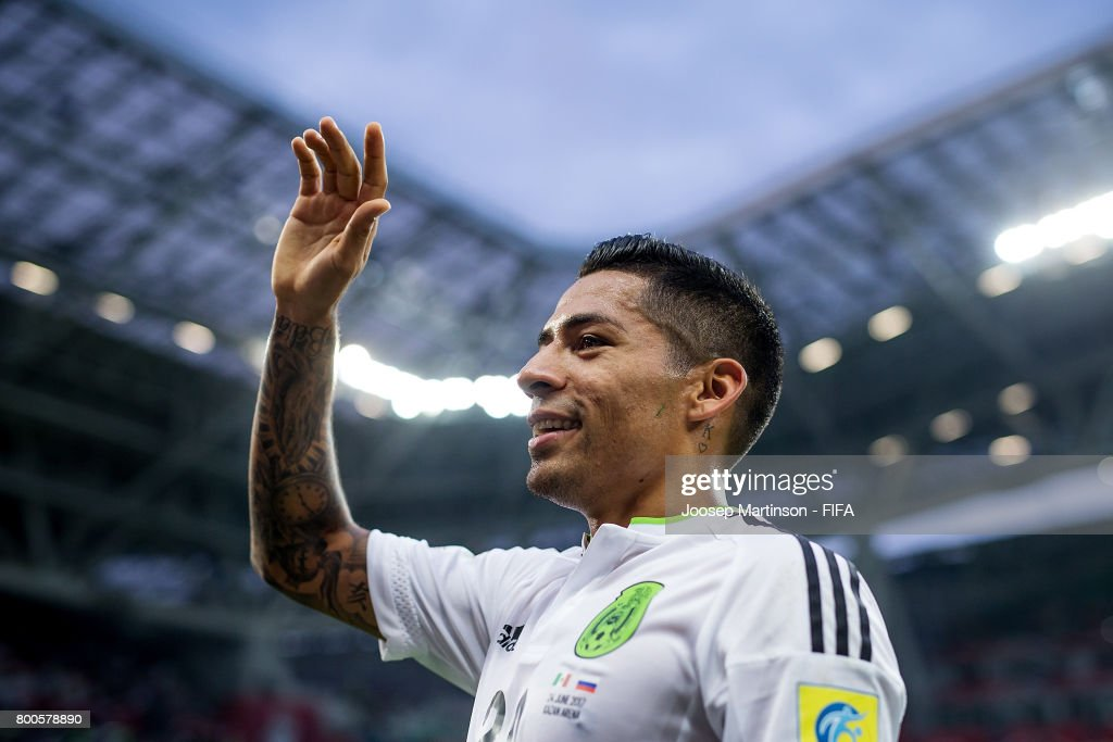 Javier Aquino of Mexico reacts after the FIFA Confederations Cup Russia 2017 group A football match between Mexico and Russia at Kazan Arena on June 24, 2017 in Kazan, Russia.
