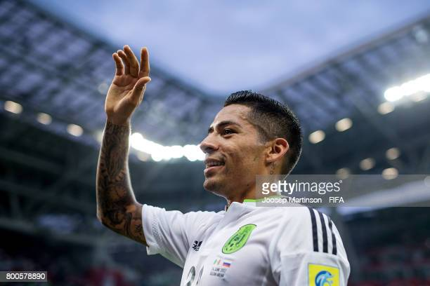 Javier Aquino of Mexico reacts after the FIFA Confederations Cup Russia 2017 group A football match between Mexico and Russia at Kazan Arena on June...