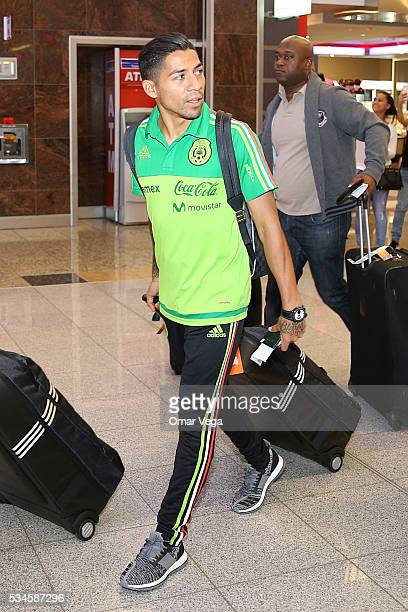 Javier Aquino of Mexico walks during the Mexico National Team arrival to United States at HartsfieldJackson International Airport on May 26 2016 in...