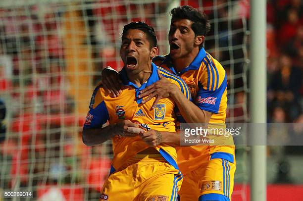 Javier Aquino of Tigres celebrate with Damian Alvarez after scoring the first goal of his team during the semifinals second leg match between Toluca...