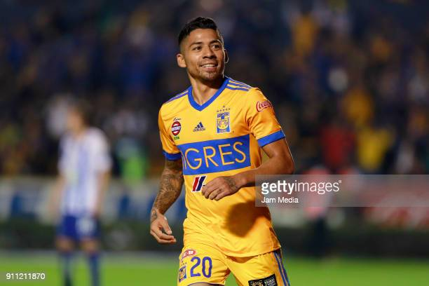 Javier Aquino of Tigres celebrates after scoring the second goal of his team during the 4th round match between Tigres UANL and Pachuca as part of...