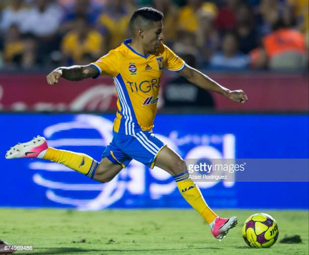 Javier Aquino of Tigres takes a shot during the 16th round match between Tigres UANL and Tijuana as part of the Torneo Clausura 2017 Liga MX at...