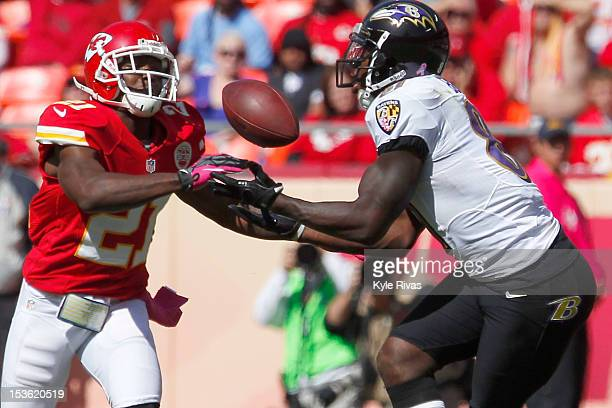 Javier Arenas of the Kansas City Chiefs breaks up a pass to Anquan Boldin of the Baltimore Ravens late in the second quarter on October 07, 2012 at...