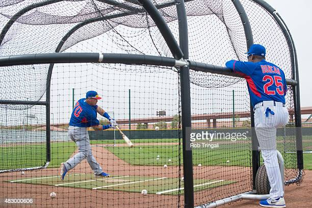 Javier Baez of Chicago Cubs takes batting practice during a Spring Training workout on Tuesday February 25 2014 at Cubs Park in Mesa Arizona