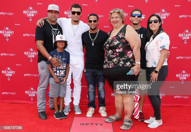 Javier Baez of the Chicago Cubs and the National League attends the 89th MLB AllStar Game presented by MasterCard red carpet with guests at Nationals...