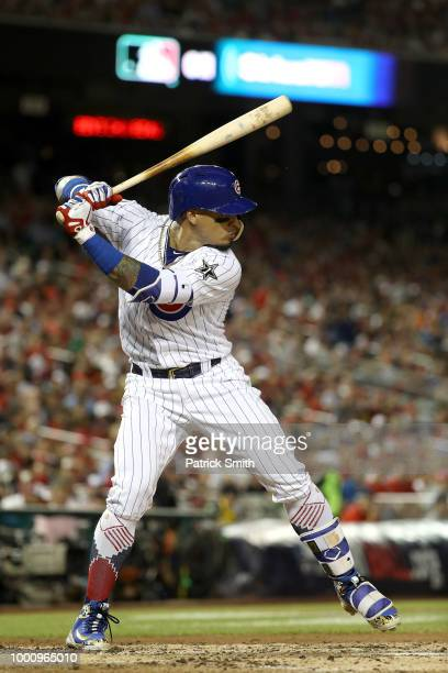 Javier Baez of the Chicago Cubs and the National League bats in the third inning against the American League during the 89th MLB AllStar Game...