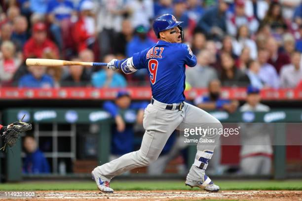 Javier Baez of the Chicago Cubs bats against the Cincinnati Reds at Great American Ball Park on May 14 2019 in Cincinnati Ohio Chicago defeated...