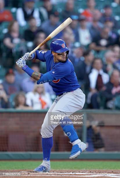 Javier Baez of the Chicago Cubs bats against the San Francisco Giants in the top of the first inning at Oracle Park on July 23 2019 in San Francisco...