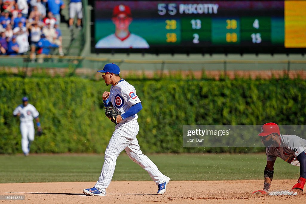 Javier Baez #9 of the Chicago Cubs celebrates after forcing out Jason Heyward #22 of the St. Louis Cardinals to end the game at Wrigley Field on September 19, 2015 in Chicago, Illinois. The Chicago Cubs won 5-4.