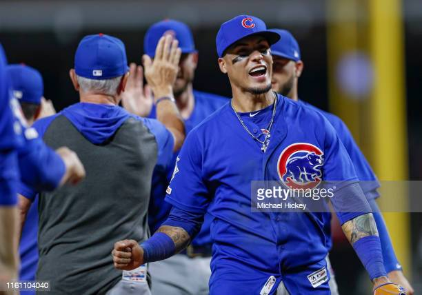Javier Baez of the Chicago Cubs celebrates following the game against the Cincinnati Reds at Great American Ball Park on August 8 2019 in Cincinnati...