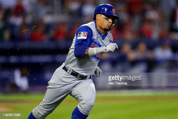 Javier Baez of the Chicago Cubs doubles in the fourth inning during the 2019 Little League Classic between the Chicago Cubs and the Pittsburgh...