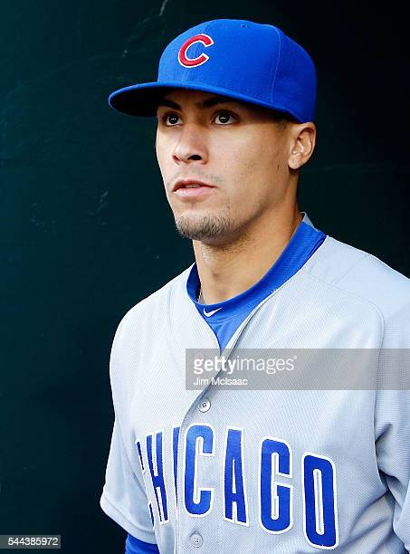 Javier Baez of the Chicago Cubs looks on against the New York Mets at Citi Field on June 30 2016 in the Flushing neighborhood of the Queens borough...