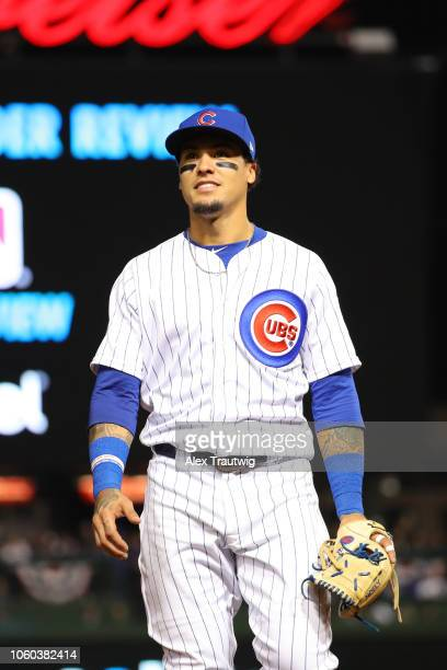 Javier Baez of the Chicago Cubs looks on during the National League Wild Card game against the Colorado Rockies at Wrigley Field on Tuesday October 2...