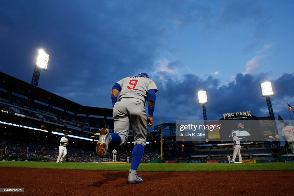Javier Baez #9 of the Chicago Cubs runs onto the field against the Pittsburgh Pirates at PNC Park on September 6, 2017 in Pittsburgh, Pennsylvania.