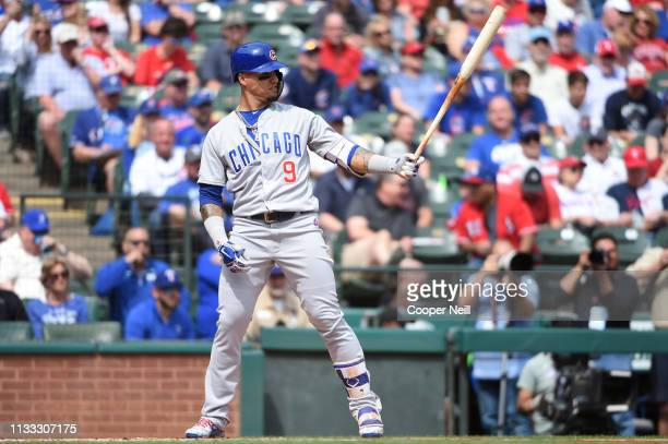 Javier Baez of the Chicago Cubs stands in the batter's box during the game between the Chicago Cubs and the Texas Rangers at Globe Life Park in...
