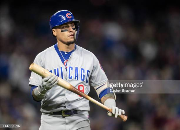 Javier Baez of the Chicago Cubs stands on the field between pitches during an atbat in a game against the Seattle Mariners at TMobile Park on April...