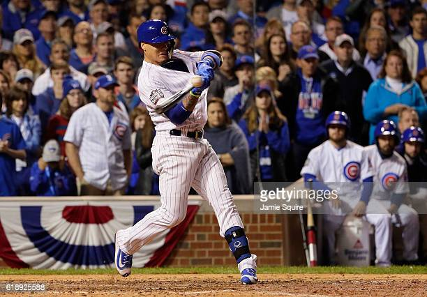 Javier Baez of the Chicago Cubs stirkes out in the ninth inning against the Cleveland Indians in Game Three of the 2016 World Series at Wrigley Field...