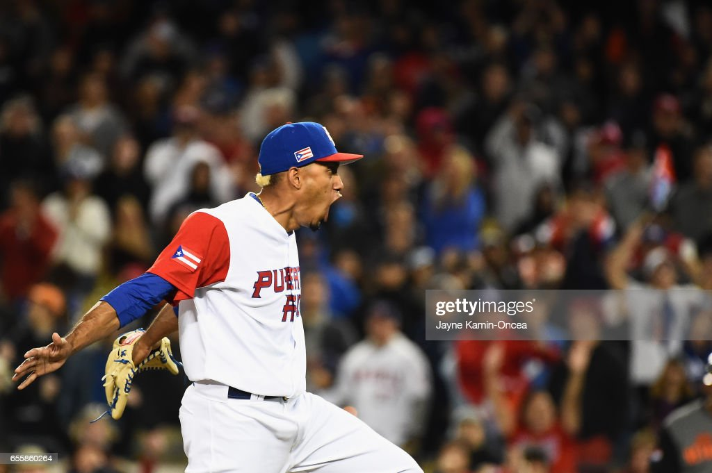 Javier Baez #9 of the Puerto Rico reacts in the ninth inning against team Netherlands during Game 1 of the Championship Round of the 2017 World Baseball Classic at Dodger Stadium on March 20, 2017 in Los Angeles, California.