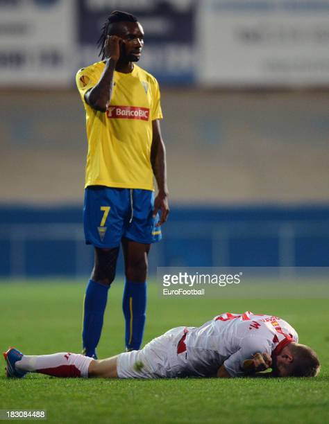 Javier Balboa of Estoril Praia in action during the UEFA Europa League group stage match between Estoril Praia and Sevilla FC held on September 19...