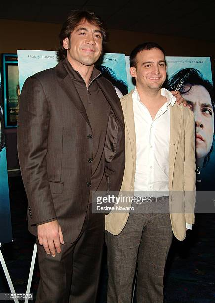 Javier Bardem and Alejandro Amenabar director during 'The Sea Inside' New York City Premiere at United Artist Theatre in New York City New York...