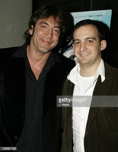 Javier Bardem and Alejandro Amenabar during 'The Sea Inside' Special Los Angeles Screening at New Line Screening Room in Los Angeles California...