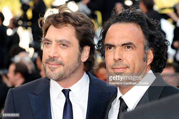 Javier Bardem and Alejandro Gonzalez Inarritu attend the premiere of 'The tree' during the 63rd Cannes International Film Festival