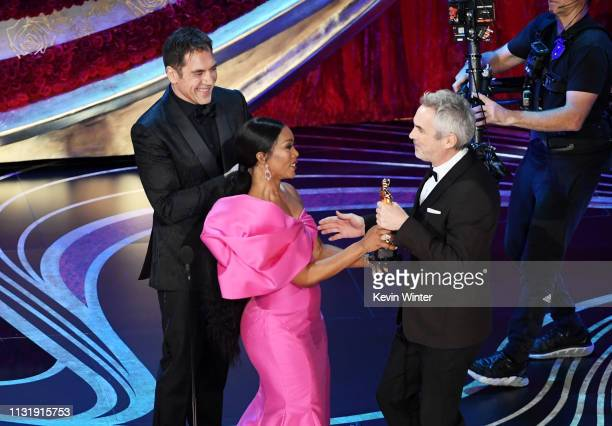 Javier Bardem and Angela Bassett present the Foreign Language Film award for 'Roma' to Alfonso Cuaron onstage during the 91st Annual Academy Awards...
