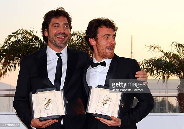Javier Bardem and Elio Germano attend the Palme d'Or Award Ceremony Photo Call held at the Palais des Festivals during the 63rd Annual International...