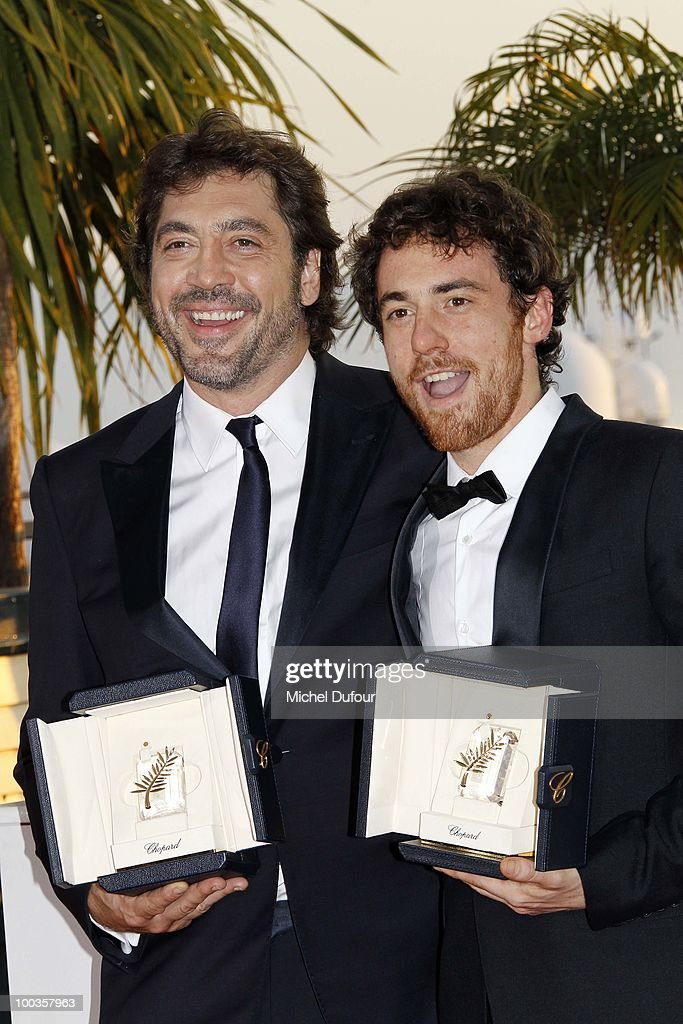 Javier Bardem and Elio Germano attend the Palme d'Or Award Photocall held at the Palais des Festivals during the 63rd Annual Cannes Film Festival on May 23, 2010 in Cannes, France.