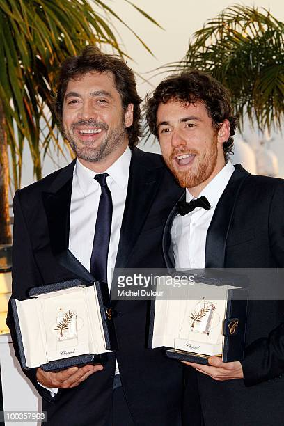 Javier Bardem and Elio Germano attend the Palme d'Or Award Photocall held at the Palais des Festivals during the 63rd Annual Cannes Film Festival on...