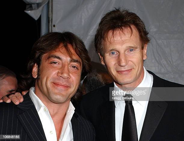 Javier Bardem and Liam Neeson during Palm Springs International Film Festival Awards Gala presented by Tiffany Co Arrivals at Palm Springs Convention...