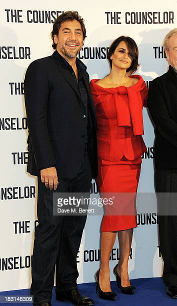 Javier Bardem and Penelope Cruz attend a photocall for 'The Counselor' at The Dorchester on October 5 2013 in London England