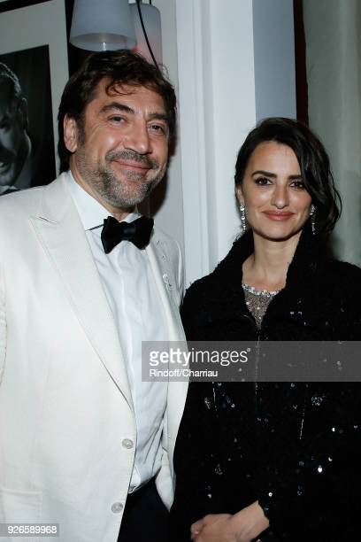 Javier Bardem and Penelope Cruz attend 'Dinner at Le Fouquet's' during Cesar Film Award 2018 at Le Fouquet's on March 2 2018 in Paris France