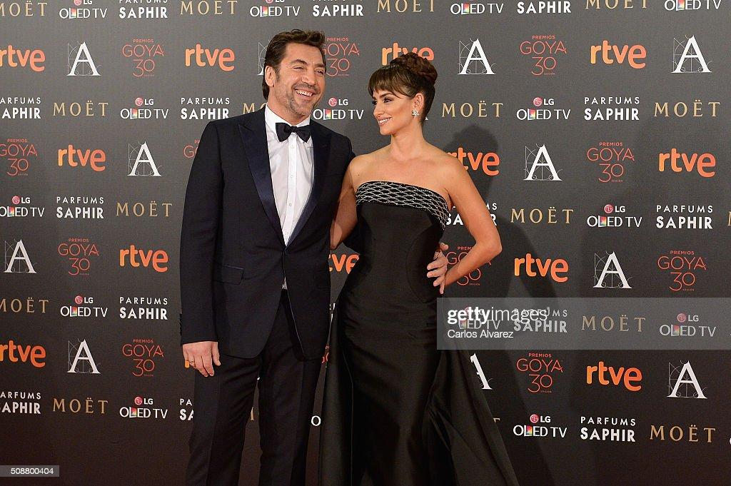 Javier Bardem and Penelope Cruz attend Goya Cinema Awards 2016 at Madrid Marriott Auditorium on February 6, 2016 in Madrid, Spain.