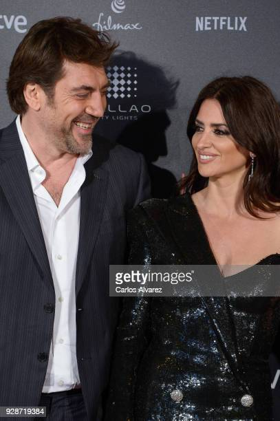 Javier Bardem and Penelope Cruz attend 'Loving Pablo' Madrid Premiere on March 7 2018 in Madrid Spain