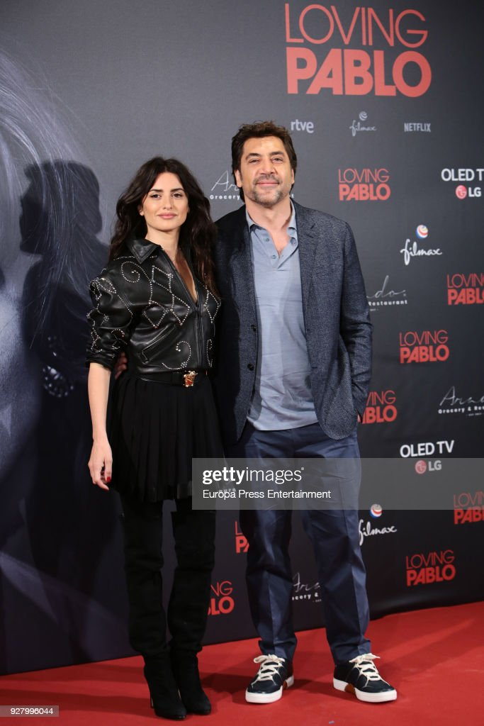 Javier Bardem and Penelope Cruz attend 'Loving Pablo' photocall on March 6, 2018 in Madrid, Spain.