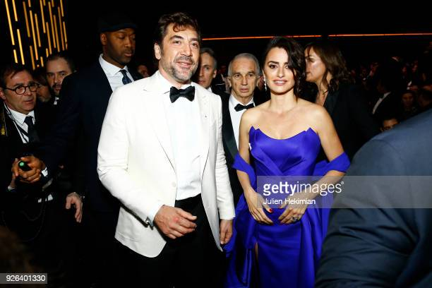 Javier Bardem and Penelope Cruz attend the Cesar Film Awards 2018 at Salle Pleyel on March 2 2018 in Paris France