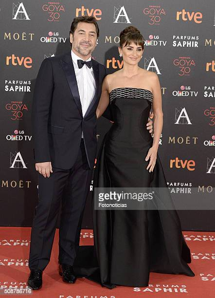Javier Bardem and Penelope Cruz attend the Goya Cinema Awards 2016 Ceremony at Madrid Marriott Auditorium on February 6, 2016 in Madrid, Spain.