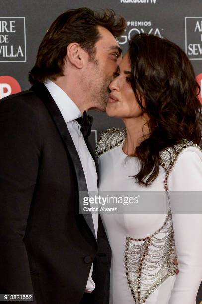 Javier Bardem and Penelope Cruz attends Goya Cinema Awards 2018 at Madrid Marriott Auditorium on February 3 2018 in Madrid Spain