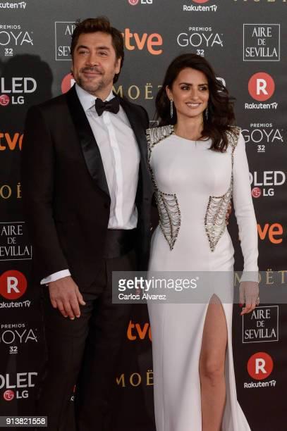 Javier Bardem and Penelope Cruz attends Goya Cinema Awards 2018 at Madrid Marriott Auditorium on February 3 2018 in Madrid Spain